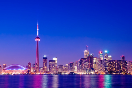 Photo of Toronto at dusk. Send flowers in Toronto Ontario and the G.T.A. with our same day flower delivery guarantee.