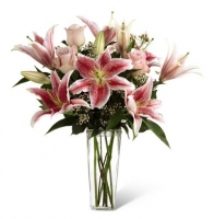 soft roses and stargazer lilies