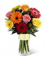 colorful rose and gerbera daisy bouquet
