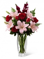 Pink Lilies and red roses